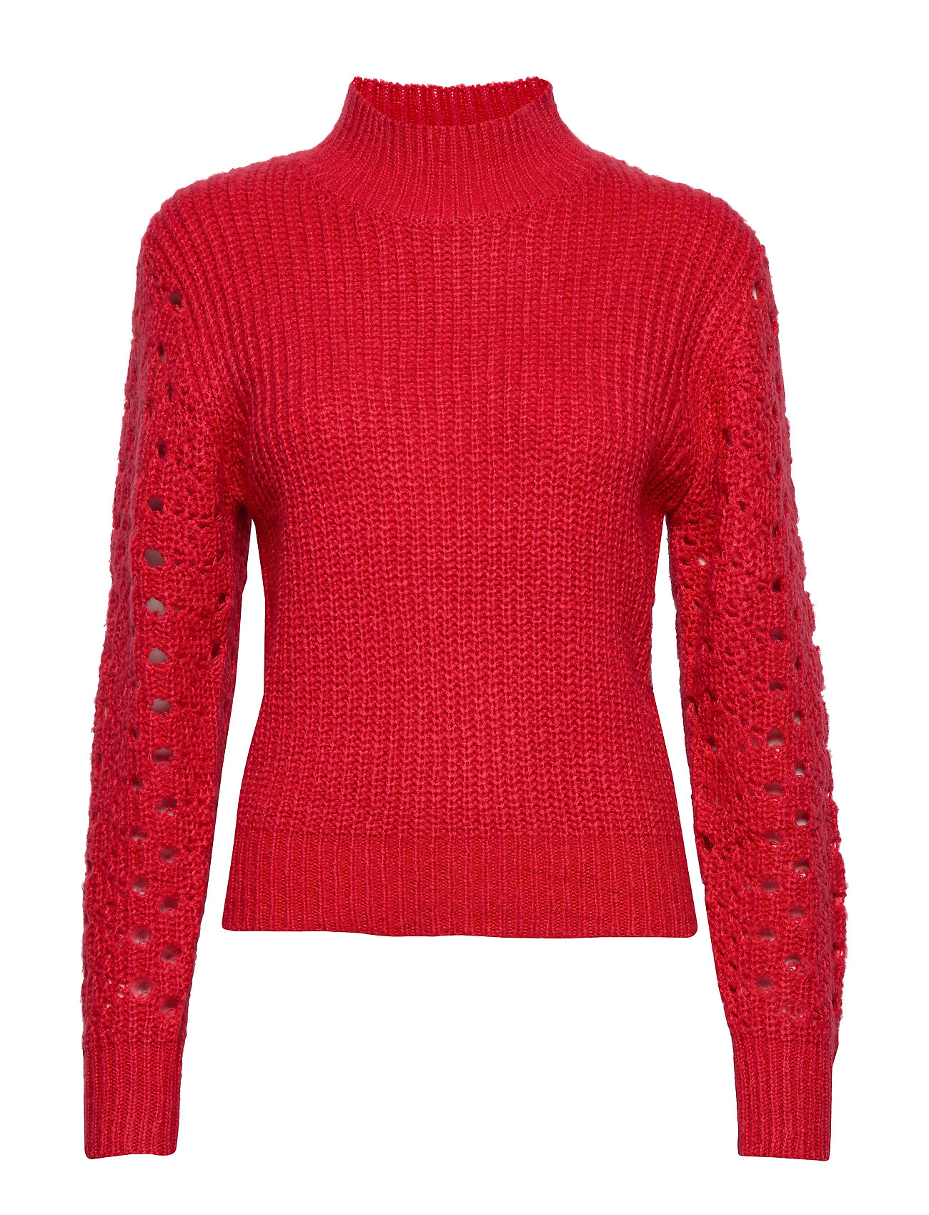 Ivyrevel HIGH COLLAR POINTELLE KNIT - BURNT RED