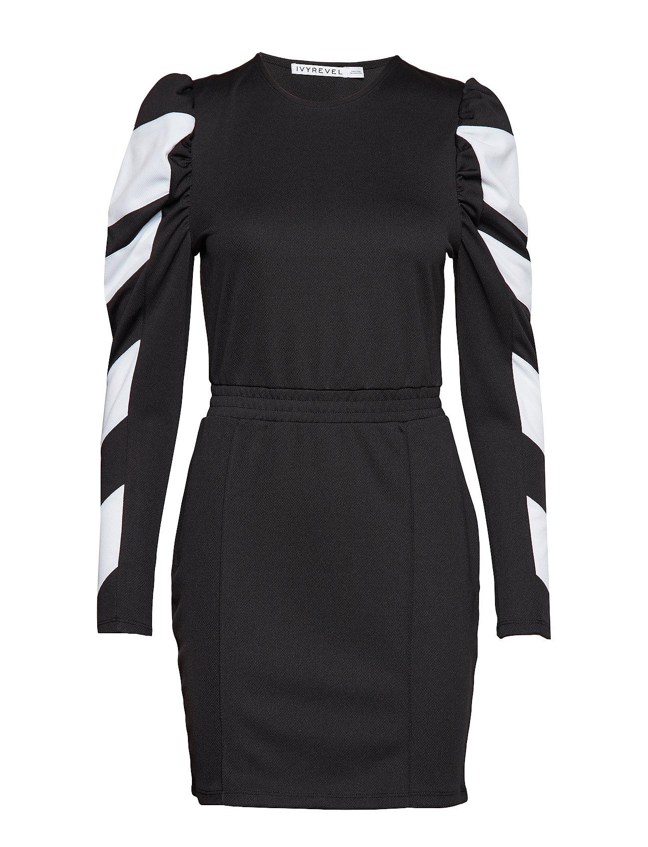 Ivyrevel Puff Sleeve Panel Dress - BLACK