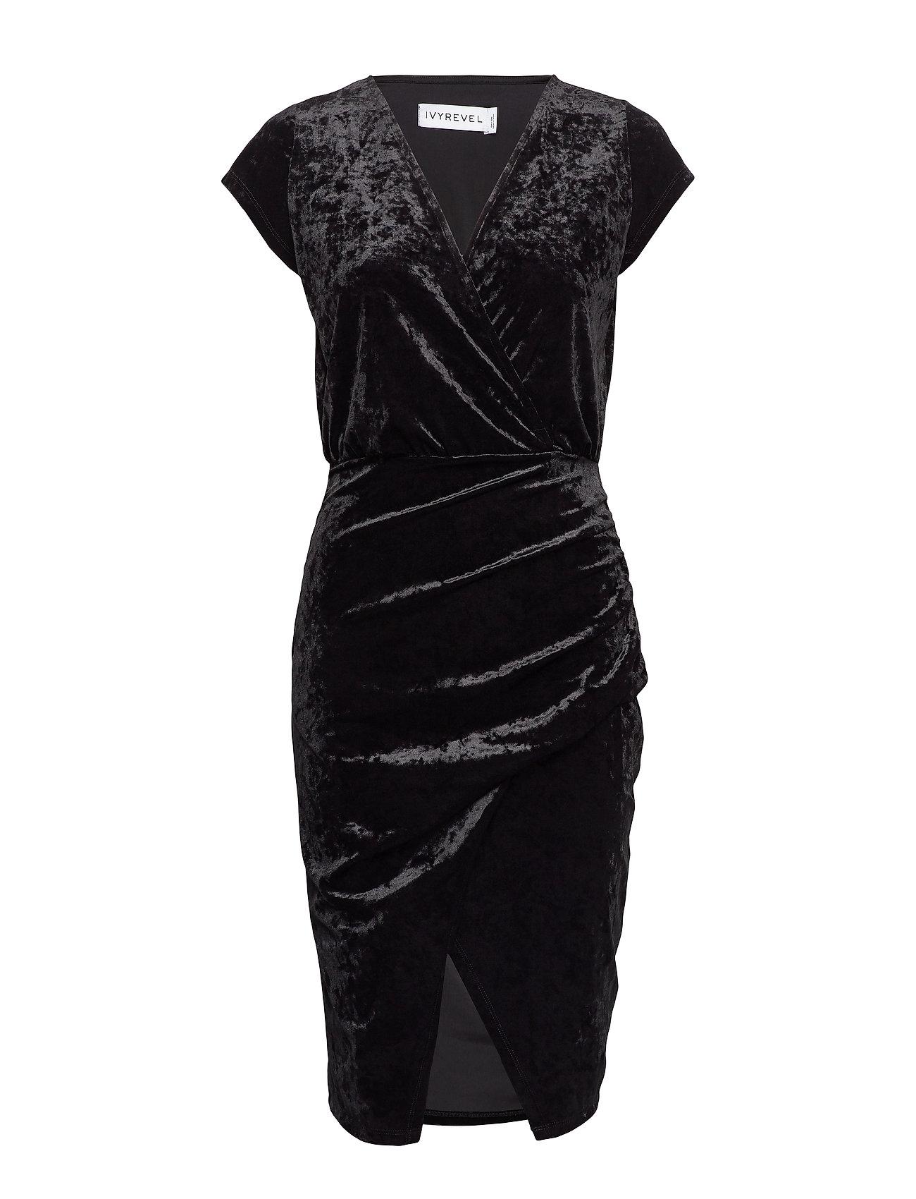 Ivyrevel FRONT WRAP VELVET DRESS - BLACK
