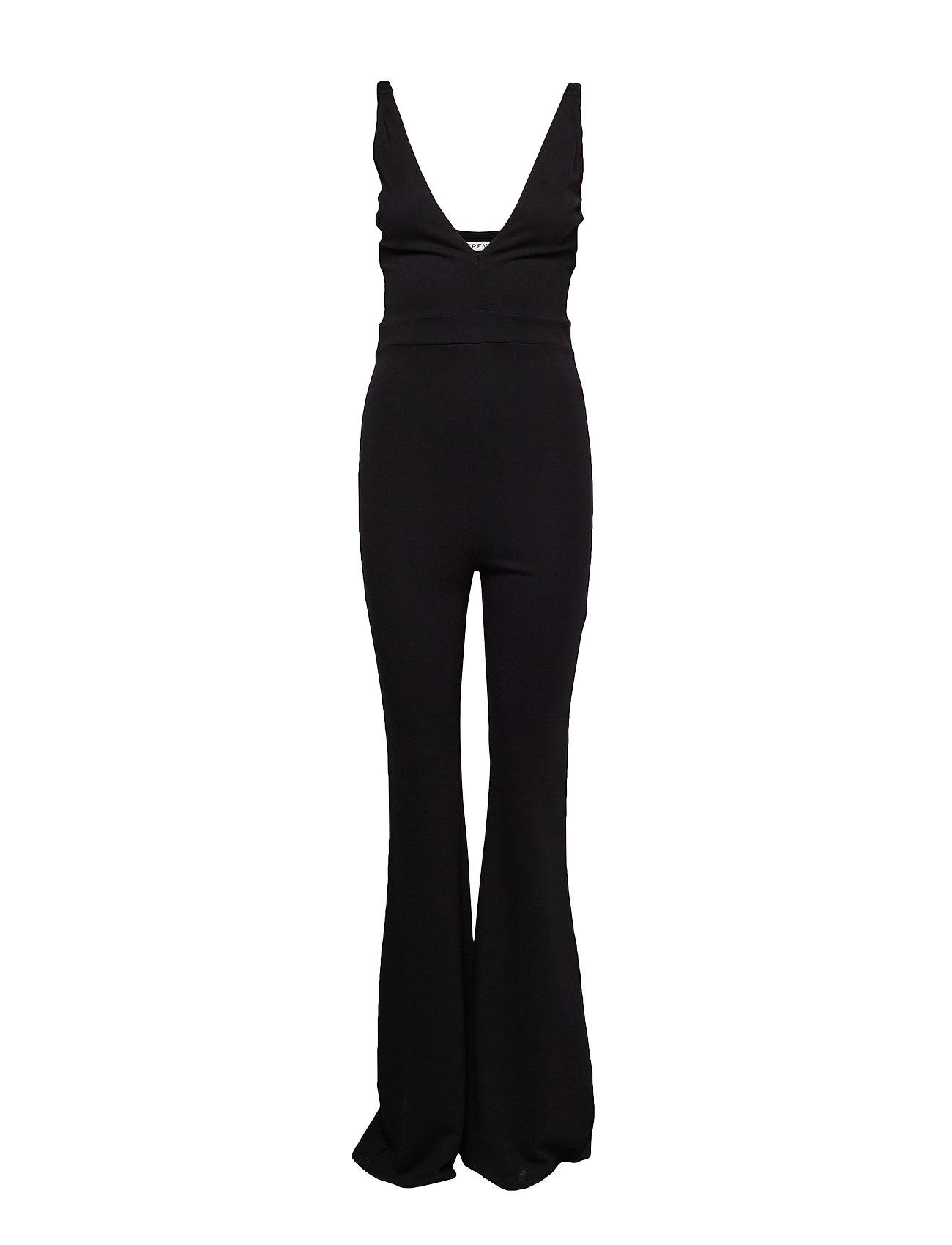 Ivyrevel V Neck Flared Jumpsuit - BLACK