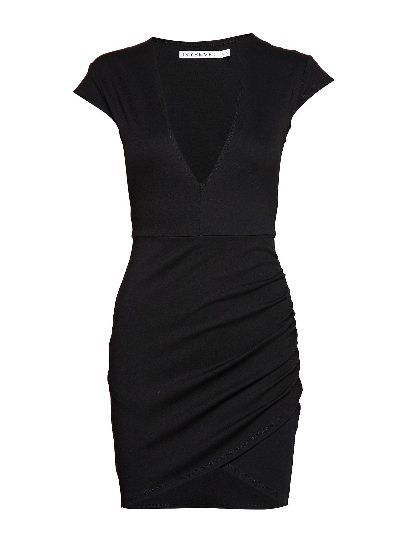 Ivyrevel V Neck Wrap Dress - BLACK