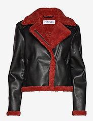 Ivyrevel - TEDDY JACKET - nahkatakit - black/burnt red - 1