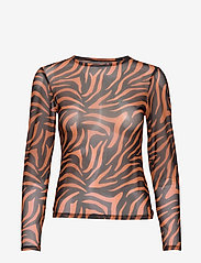 Ivyrevel - MESH LONG SLEEVE TOP - hauts à manches longues - black/orange zebra - 0