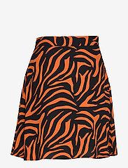 Ivyrevel - A LINE MINI SKIRT - midi rokken - black/orange zebra - 1
