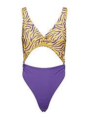Twist Front Swimsuit - YELLOW/PURPLE ZEBRA PRINT + PURPLE