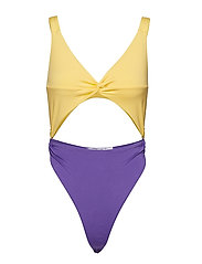 Twist Front Swimsuit - YELLOW/PURPLE