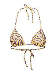 Ivyrevel Halter Neck Triangle Bikini Top - YELLOW/PURPLE ZEBRA PRINT