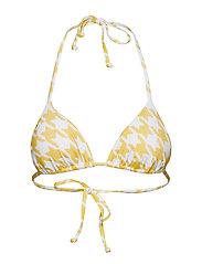 Halter Neck Triangle Bikini Top - YELLOW/WHITE PEPITA PRINT