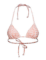 Halter Neck Triangle Bikini Top - LIGHT PINK/WHITE CROCO PRINT +LIGHT PINK