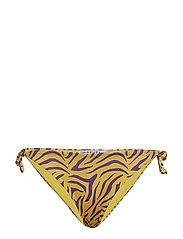 Tie Side Bikini Bottom - YELLOW/PURPLE ZEBRA PRINT