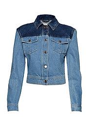 Sharp Shoulder Denim Jacket - BLUE