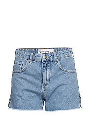 Raw Edge Denim Shorts - BLUE