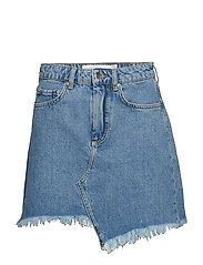 Raw Edge Denim Skirt - BLUE