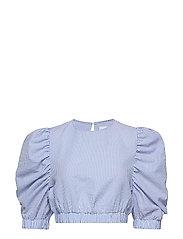 Puff Sleeve Crop Top - BLUE MIX