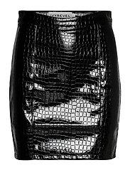 PU MINI SKIRT - BLACK CROCO