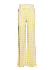 High Waist Wide Leg Pants - YELLOW PEPITA PRINT