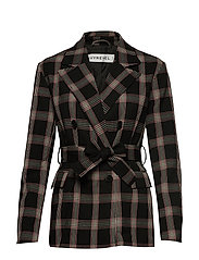 CHECK SHOULDERPAD BLAZER - BLACK CHECK