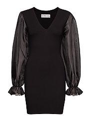 ORGANZA SLEEVE JERSEY DRESS - BLACK
