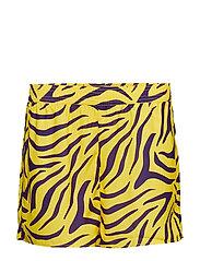 High Waist Shorts - PURPLE/YELLOW