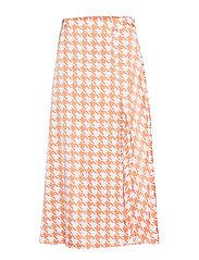 Split Skirt - ORANGE PEPITA PRINT