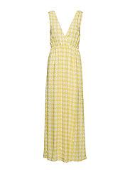 Maxi Dress With Slit - YELLOW PEPITA PRINT