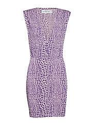 Sharp Shoulder Mini Dress - LIGHT PINK AOP
