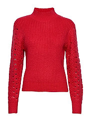 HIGH COLLAR POINTELLE KNIT - BURNT RED