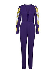 Puff Sleeve Panel Jumpsuit - PURPLE