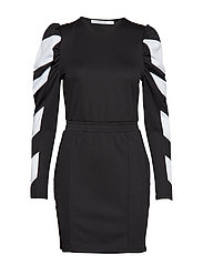Puff Sleeve Panel Dress - BLACK