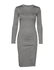 RIB KNIT SLIT DRESS - LIGHT GREY MELANGE