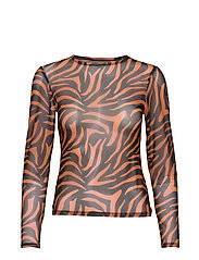 MESH LONG SLEEVE TOP - BLACK/ORANGE ZEBRA