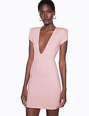 Ivyrevel - CAPPED SLEEVE PLUNGE MINI DRESS - short dresses - light pink - 0