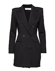 LONG LINE DOUBE BREASTED BLAZER - BLACK