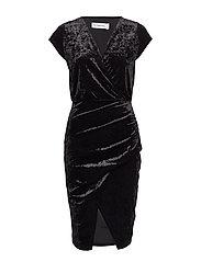 FRONT WRAP VELVET DRESS - BLACK
