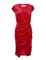 FRONT WRAP VELVET DRESS - RED