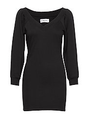 OFF SHOULDER SWEATER DRESS - BLACK