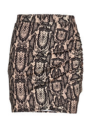 DRAPY MINI SKIRT - BEIGE SNAKE