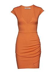 V Neck Wrap Dress - ORANGE