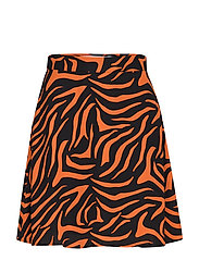 A LINE MINI SKIRT - BLACK/ORANGE ZEBRA