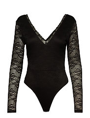 DEEP V LACE BODY - BLACK
