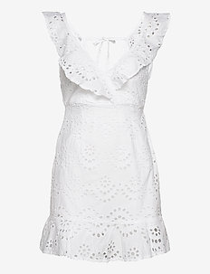 ENGLISH LACE FRILL DRESS - robes courtes - white