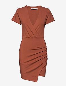V NECK T-SHIRT DRESS - courtes robes - rust