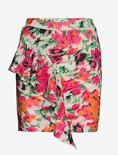DRAPED FRILL MINI SKIRT - jupes courtes - blurred floral