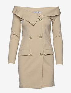 OFF SHOULDER BLAZER DRESS - krótkie sukienki - beige