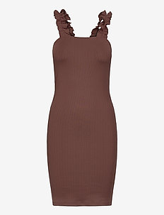FRILL SHOULDER RIB DRESS - robes moulantes - brown