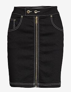 FRONT ZIP TWILL SKIRT - jeansowe spódnice - black