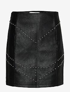 STUDDED PU MINI SKIRT - jupes courtes - black