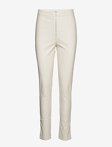 FAUX LEATHER TROUSERS - læderbukser - off white