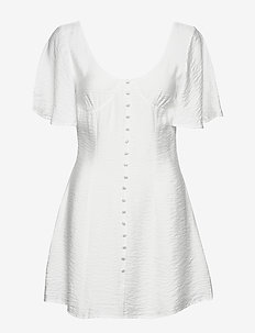 BUTTON UP CORSET DRESS - robes courtes - white