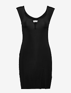 CAP SLEEVE PLUNGE DRESS - robes moulantes - black